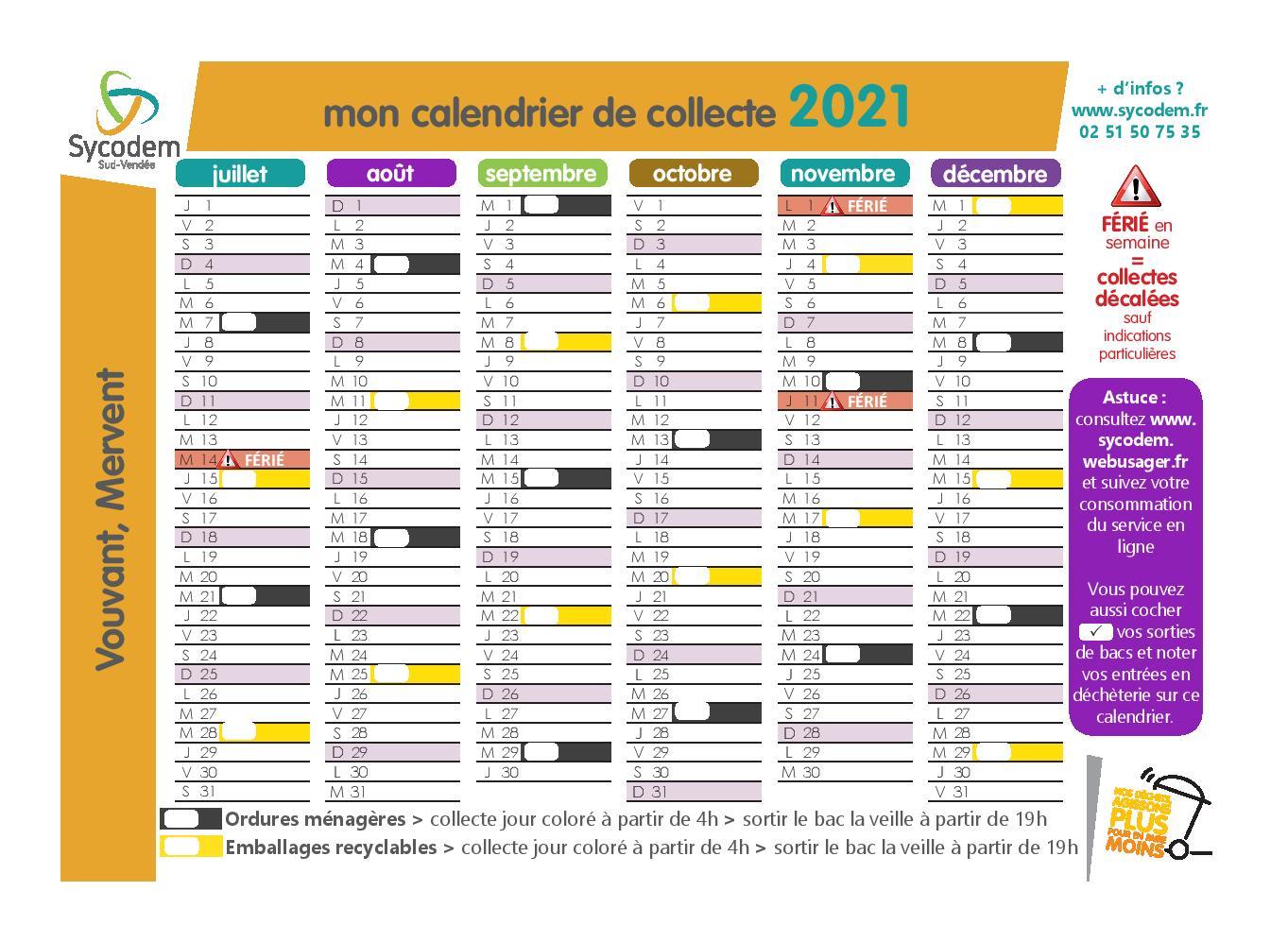 Calendrier de la collecte des déchets à Mervent 2021