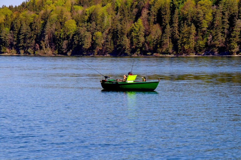 lake, fish, fisherman